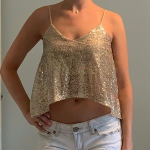 Gold Sparkly Sequin Spaghetti Strap Lose Crop Top